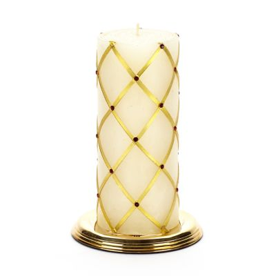 "Sparkly Fishnet Pillar Candle - 6"" - Gold & Red"