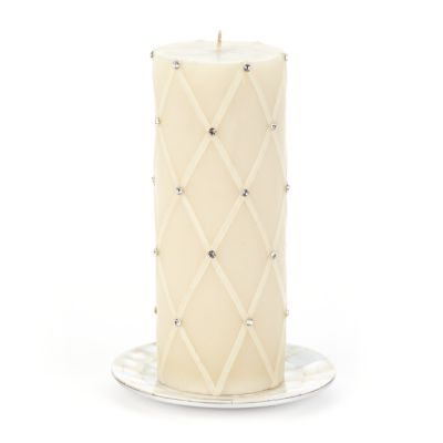"Fishnet & Rhinestone Pillar Candle - 6"" - White"