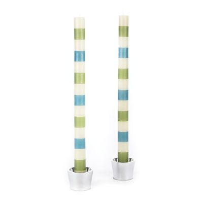Multi Bands Dinner Candles - Green & Blue - Set of 2
