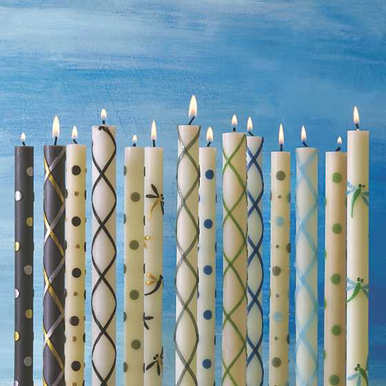 Fishnet Dinner Candles - Blue - Set of 2 image two