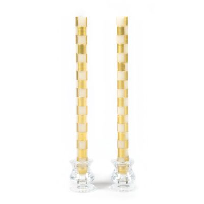 Check Dinner Candles - Gold & Ivory - Set of 2