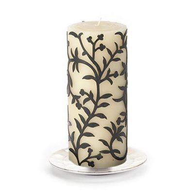 "Vine Pillar Candle - 6"" - Black"