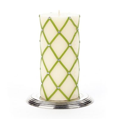 "Fishnet & Rhinestone Pillar Candle - 6"" - Green"