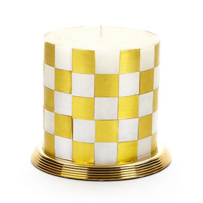 "Checker Pillar Candle - 5"" - Gold"