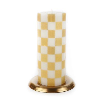 "Checker Pillar Candle - 6"" - Gold"