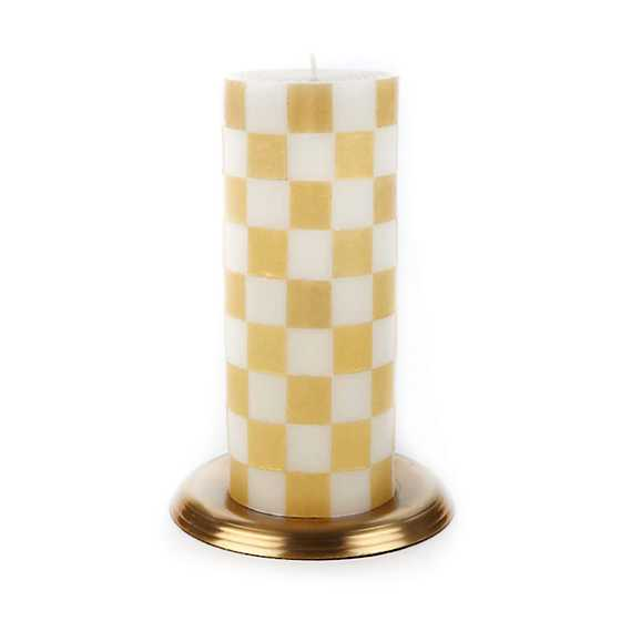 "Check Pillar Candle - 6"" - Gold & Ivory"