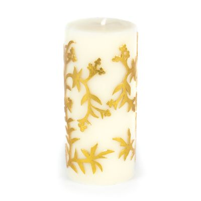 "Vine Pillar Candle - 6"" - Gold"