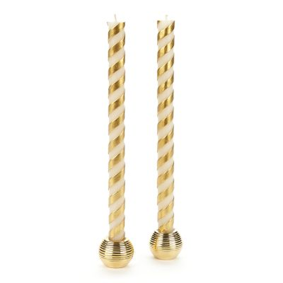 Candy Cane Dinner Candles - Gold - Set of 2