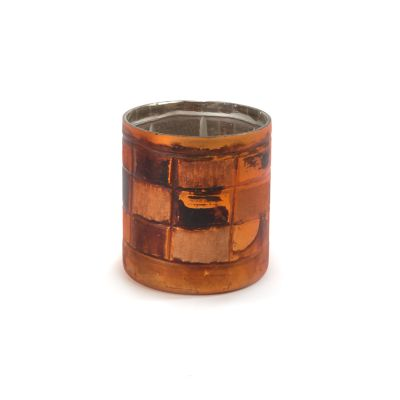 Copper Check Glass Hurricane - Votive