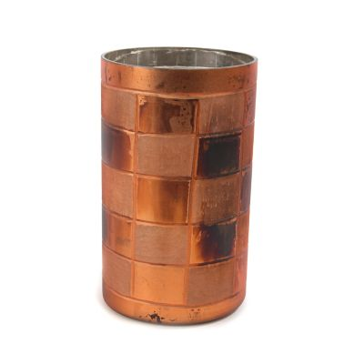 Copper Check Glass Hurricane - Small