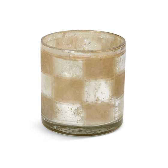 Silvered Check Glass Hurricane - Votive
