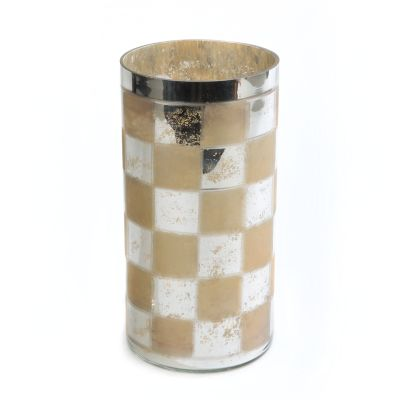 Silvered Check Glass Hurricane - Medium