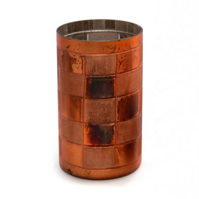 Copper Check Glass Hurricane - Medium