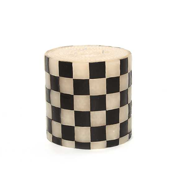 "Checker Pillar Candle - 5"" - Black & White image two"