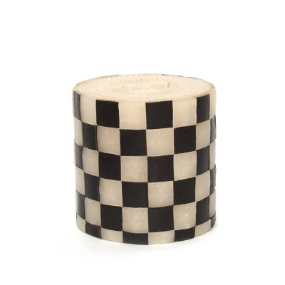 "Checker Pillar Candle - 5"" - Black & White"