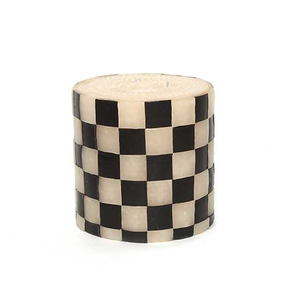 "Check Pillar Candle - 5"" - Black & Ivory"