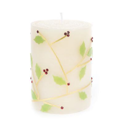 Holly Pillar Candle - 4""
