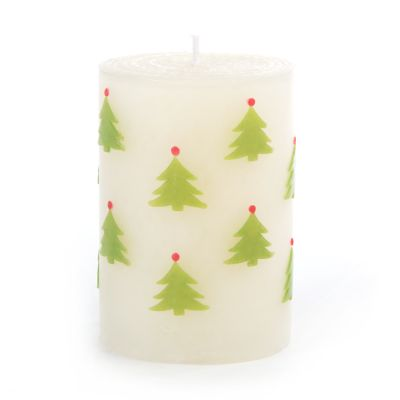 Christmas Tree Pillar Candle - 4""