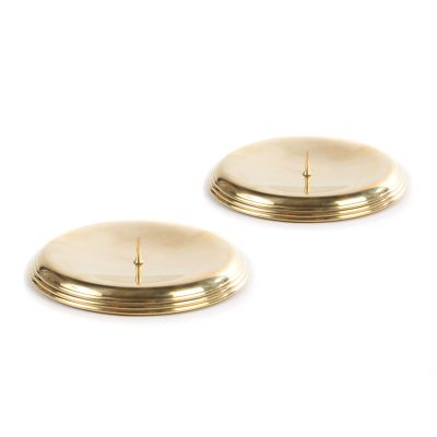 Ribbed Pillar Candle Holders - Gold - Set of 2