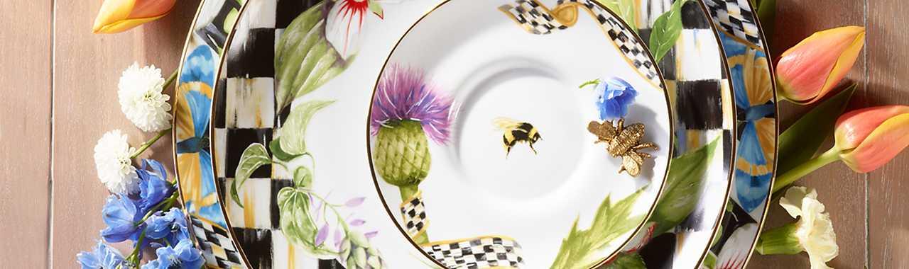 & MacKenzie-Childs | Thistle \u0026 Bee Dinnerware