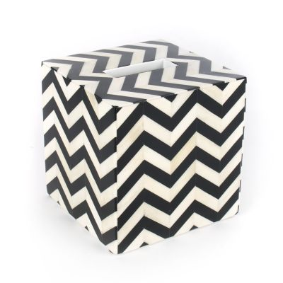 Piazza Boutique Tissue Box Holder - Black & Ivory