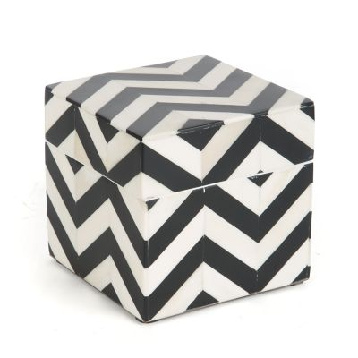Piazza Lidded Box - Black & Ivory