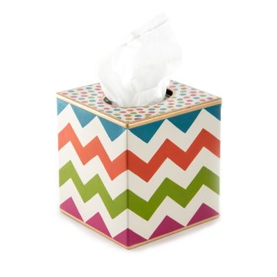 Trampoline Boutique Tissue Box Cover - White