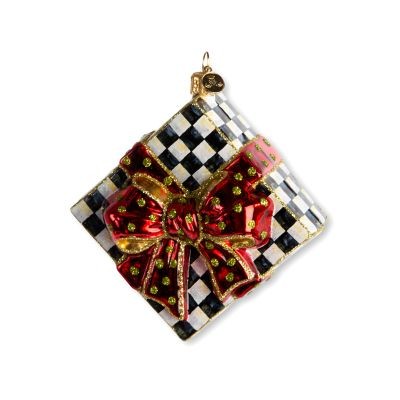 Glass Ornament - Courtly Check Present