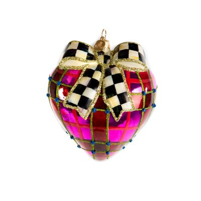 Glass Ornament - Plaid Heart