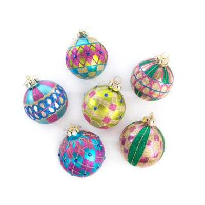 Paradise Glass Ball Ornaments - Set of 6