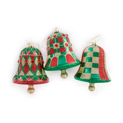 Aberdeen Glass Bell Ornaments - Set of 3