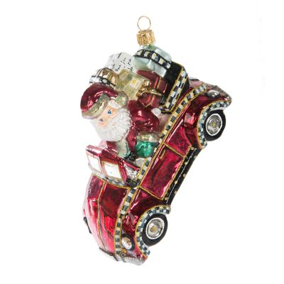 Glass Ornament - Cruisin' Claus