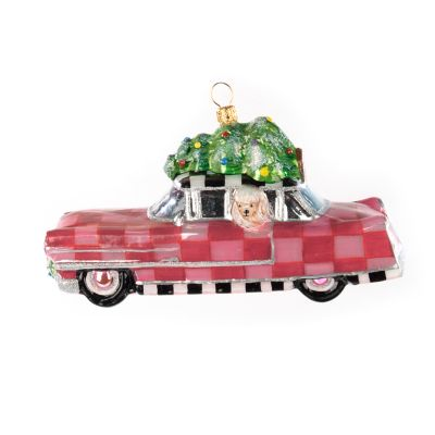 Glass Ornament - Pink Poodle Caddy