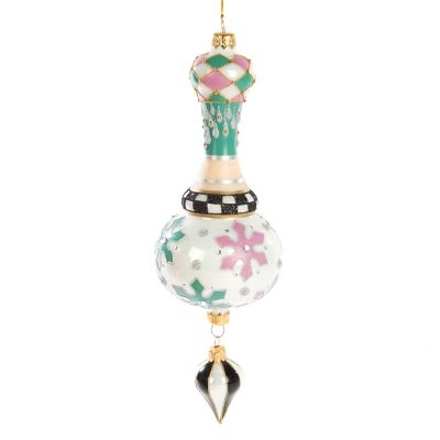 Home Sweet Snow Glass Ornament - Drop Finial
