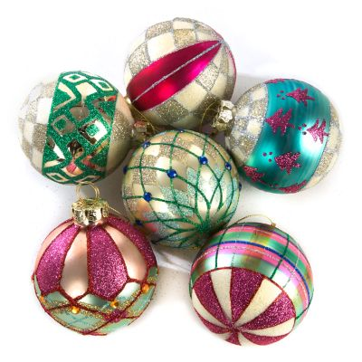 Sparkle Dust Glass Ball Ornaments - Set of 6