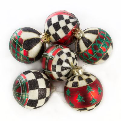 Tartan Glass Ball Ornaments - Set of 6