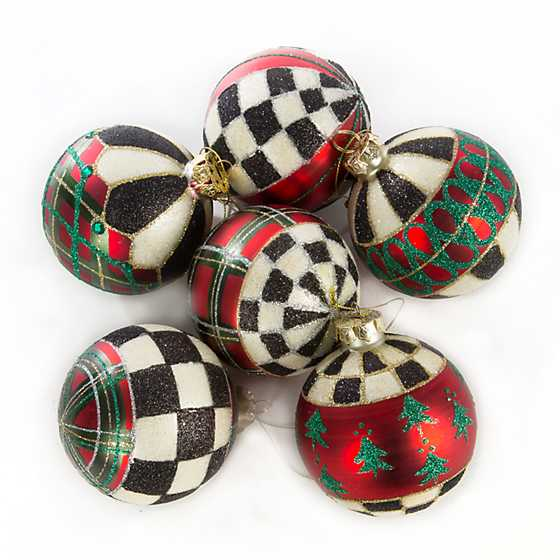 Tartan Glass Ball Ornaments - Set of 6 image one