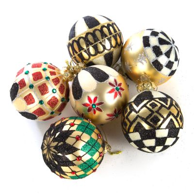 Black & Gold Glass Ball Ornaments - Set of 6