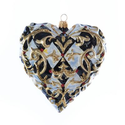 Glass Ornament - Golden Hour Filigree Heart