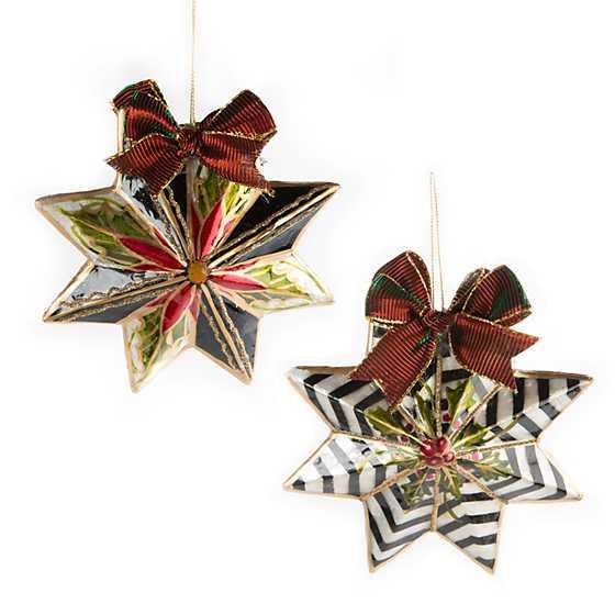 Mackenzie Childs Holly Star Ornaments Set Of 2