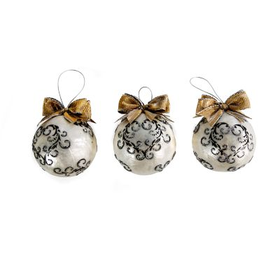 Scroll Ball Ornaments - Small - Set of 3