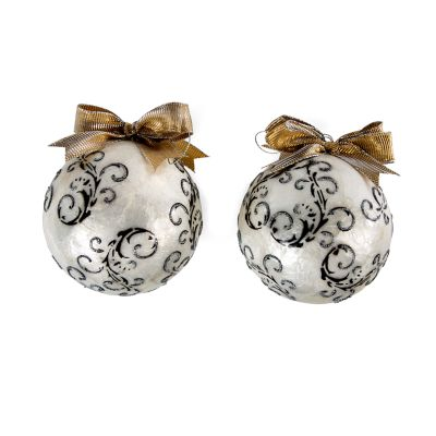 Scroll Ball Ornaments - Large - Set of 2