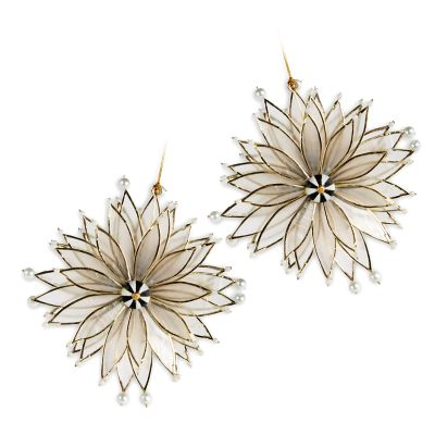 Poinsettia Ornaments - Set of 2