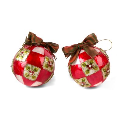 Poinsettia Large Ball Ornaments - Red -Set of 2