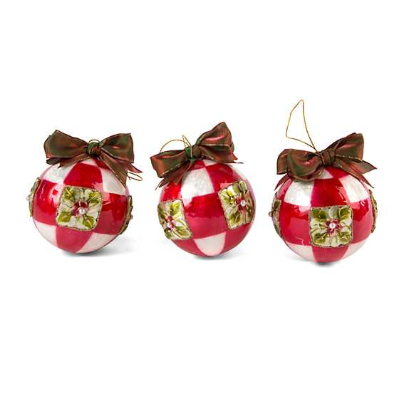 Poinsettia Small Ball Ornaments - Red - Set of 3