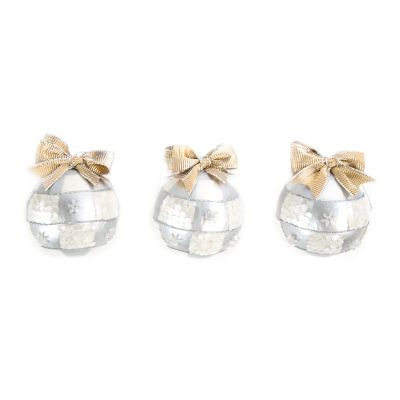 Silver Snow Ball Ornaments - Small - Set of 3