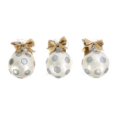 Silver Dot Ball Ornaments - Small - Set of 3