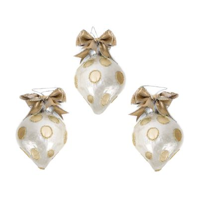 Gold Dot Onion Drop Ornaments - Set of 3