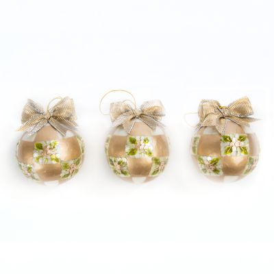 Gold Pine Cone Balls - Small - Set of 3