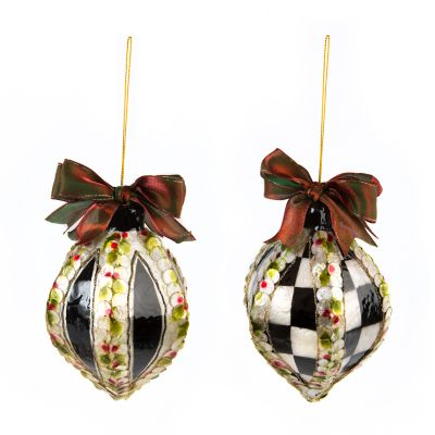 Holly Teardrop Ornaments - Set of 2